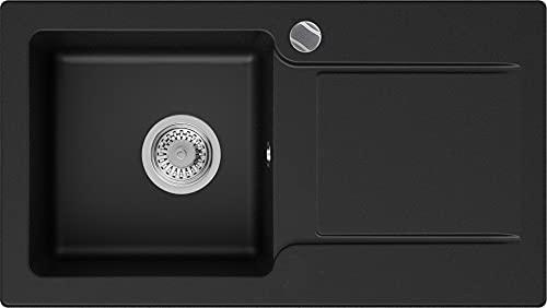 Granitspüle Schwarz 78 x 44 cm, Spülbecken + Siphon Automatisch, Küchenspüle ab 45er Unterschrank in 5 Farben mit Siphon und Antibakterielle Varianten, Einbauspüle von Primagran