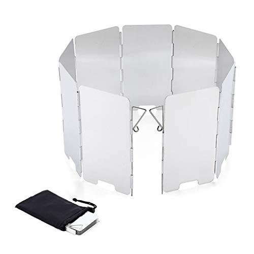 WLQWER Estufa de Campamento Parabrisas 9 Placas de Aluminio Plegable portátil Estufa de Camping Parabrisas Cocina Pantalla de Viento con Bolsa de Transporte