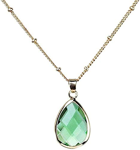 ZGYFJCH Co.,ltd Collar de Moda Collares Pendientes de Piedra para Mujer Gema Natural Gotas de Agua en Forma de lágrima Collares Pendientes de Cristal Verde Claro con Adornos de Cadena Dorada