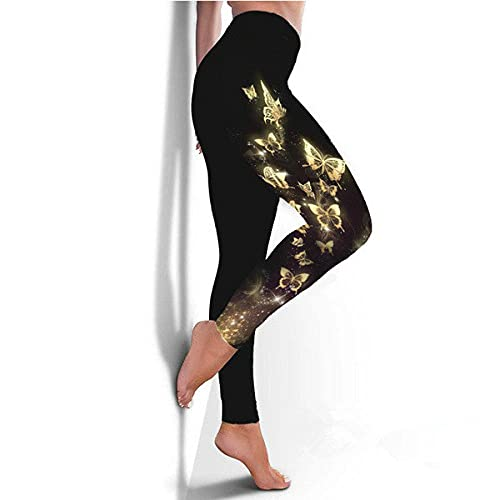 ArcherWlh Leggings Push Up Mujer De Vestir,2021 Nueva Mariposa Digital impresión Deportes Yoga Fitness Fitness Delgado Mujeres-4_XXL