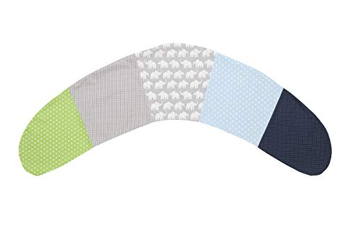 ULLENBOOM ® Stillkissenbezug 190 cm x 38 cm Elefant Blau Grün (Made in EU) - Bezug für Stillkissen, Seitenschläferkissen & Co mit den Maßen 190x38 cm, 100% Ökotex zertifizierte Baumwolle