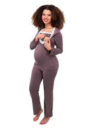 Herzmutter Stillpyjama-Umstandspyjama - Schlafanzug für Damen mit Spitze - Nachtwäsche für Schwangerschaft-Stillzeit - Pyjama-Set mit Stillfunktion - Lang-Langarm - Blau-Grau-Taupe - 2000 (S, Taupe)