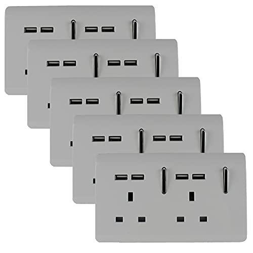 Trendi 2 bandas artísticas moderno brillante 13 Amp corto USB conmutado enchufe enchufe blanco (paquete de 5)