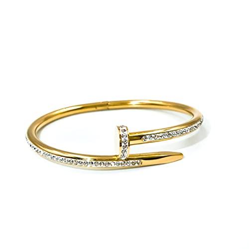 Pulseras de joyería para mujeres Niñas regalo acero inoxidable en la mano Pareja clásica oro rosa Zircon Brazaletes 2021 moda