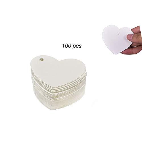LAAT 100pcs Etiquetas de Papel de corazón Kraft para Tarjetas de Rega