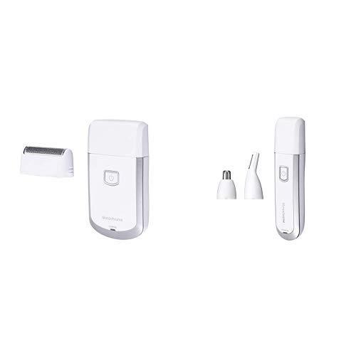 モノクローム メンズシェーバー USB充電式 往復式 ホワイト MAM-0500/W [Amazon限定ブランド] + ノーズ&イヤートリマー USB充電式 ホワイト MAM-0510/W [Amazon限定ブランド] セット