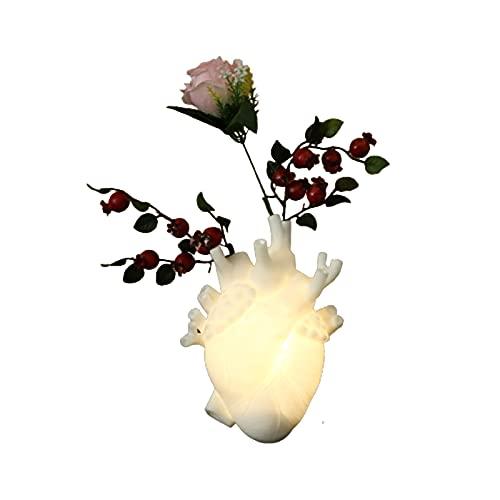 XIHUANNI Florero anatómico con forma de corazón, maceta de resina, adorno de escritorio para decoración del hogar con cadena de luz para sala de estar, dormitorio
