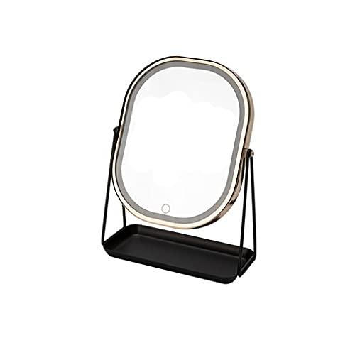 dhcsf Espejo de Maquillaje LED de Escritorio con luz y llenado Light Beauty Mirror Mirror de Escritorio Espejo de Maquillaje con luz Recargable (tamaño Grande)