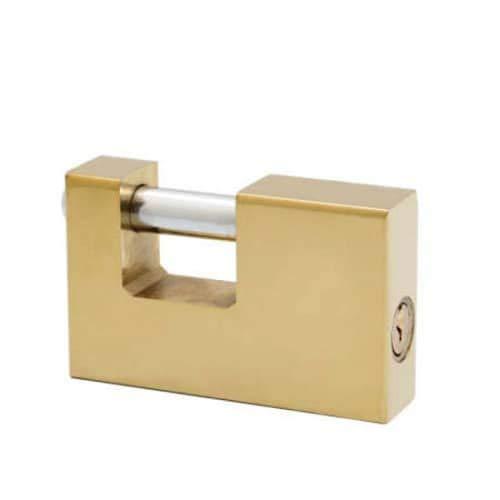 CABLEPELADO Candado rectangular seguridad de laton macizo con llave 90 mm Dorado