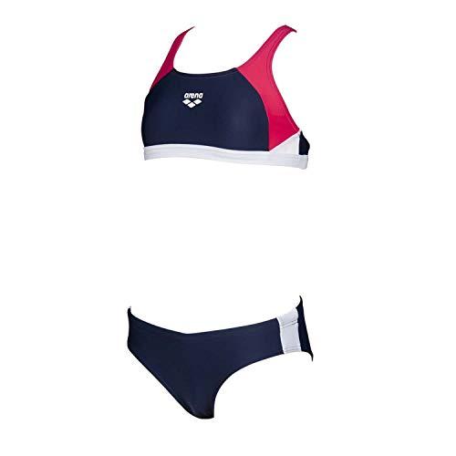 ARENA Bikini Sportivo da Ragazza Ren (Asciugatura Rapida, Protezione UV UPF 50+, Resistente al Cloro e all'Acqua salata), Bambina, Bikini, 000994, Navy Freak Rosa-Bianco, 152