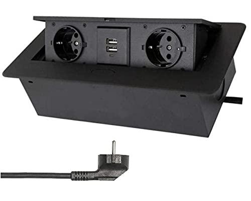Einbausteckdose mit 2X USB in schwarz mit Kabel- Stecker Steckdose Tischsteckdose versenkbar Schreibtisch Stromdose Energiestation