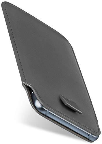moex Slide Hülle für LG Q7 Plus Hülle zum Reinstecken Ultra Dünn, Holster Handytasche aus Vegan Leder, Premium Handyhülle 360 Grad Komplett-Schutz mit Auszug - Grau