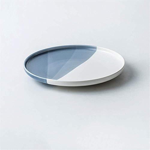 KEKEYANG Nordic cerámica Creativa Snack-Placa Occidental Dish Pizza de Plato Vajilla Restaurante Blue Plate 15.3X2.3Cm Platos