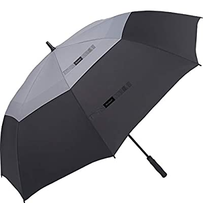 Doubwell Golf Umbrella Large Size 68 inches air Vent Double Canopy Windproof Automatic Straight rain Umbrellas (Grey/Black)