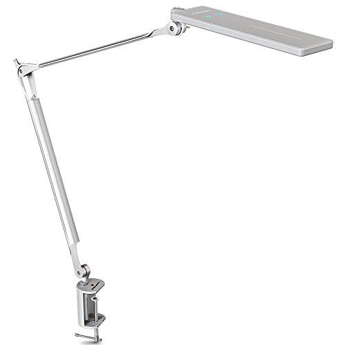 BYBLIGHT Metall LED Schreibtischlampe mit Klemmfuß, 144 integrierte LED Schreibtischleuchte, aus solider Flugzeug-Aluminiumlegierung, TOUCH-CONTROL, DIMMBAR, BLENDFREI, AUGENSCHUTZ