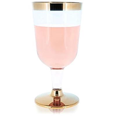 Plastic Wine Glass Set, Goblet Cups (7 oz, Gold Rim, 50 Pack)