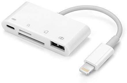 OKCS 8-Pin SD Card Reader Adapter - 4in1 Cardreader - Kartenleser kompatibel für Ihr iPhone 11, 11 Pro, 11 Max, XR, XS, XS Max, X, 8, 8 Plus, iPad Air, iPad Pro kompatibel mit iOS 13