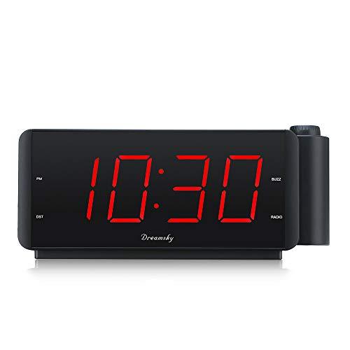 DreamSky Projektionswecker, LED Digital Wecker Radiowecker FM mit USB Ladeanschluss, Große Ziffern Display, Einstellbare Lautstärke, DST, Schlaf-Timer, Dimmer, Snooze, 180°Flip-Anzeige, Netzbetrieben