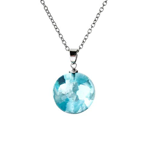 BlackEdragon Blue Sky White Cloud Necklace Spherical Resin Sky Cloud Jewelry