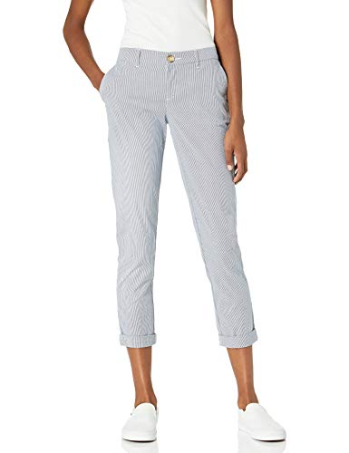 Tommy Hilfiger Women's Relaxed Fit Hampton Chino Pant (Standard and Plus Size), Blue/White, 2