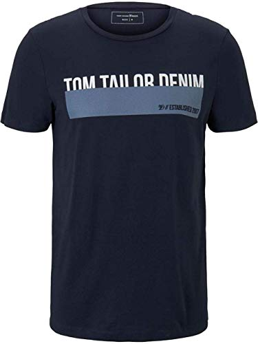 TOM TAILOR Denim Herren Print T-Shirt, Blau (10668), L
