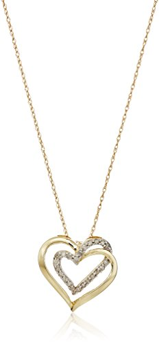 """Jewelili 10k Yellow Gold with 1/4 CTTW Diamond Double Heart Pendant Necklace, 18"""" Rolo Chain"""
