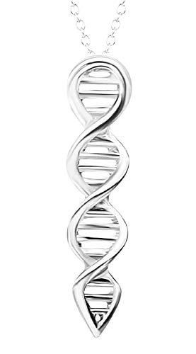 Vrouwelijke ketting - vrouw - molecuul - dna - biologie - chemie - dubbele helix - schaal - zilver - kerstmis - origineel cadeau idee