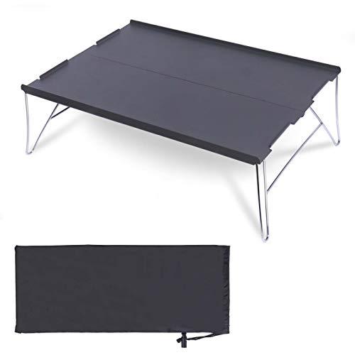 キャンプ テーブル ミニテーブル 折りたたみ 組み立て式 超軽量 アルミ製 ローテーブル 収納袋付き コンパクト アウトドアテーブル ソロキャンプ アウトドア 登山 BBQ ツーリング (ブラック M)…