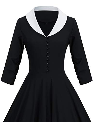 GownTown Womens 1950s Cape Collar Vintage Swing Stretchy Dresses