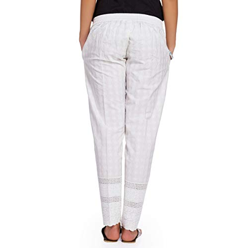 NAARI Women's Cotton Ankle Length Straight Fit 2 Pockets Trousers (White, XL)