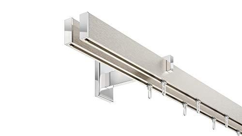 Innenlauf Gardinenstangen Set rechteckig, 2-läufig, Aluminium silbert eloxiert/verchromt, 480 cm, Langer Träger