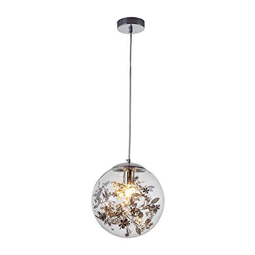 ZY Glas Bal LED Kroonluchter Creatieve RVS Smeedijzeren Hanger Lamp Moderne Cirkel Transparante Bloem Lamp Schaduw Enkele Hoofd Hoogte Verstelbare Metalen Basis Restaurant Slaapkamer Bar, Zilver