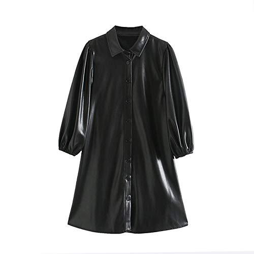 NVDKHXG Mode Dames Zwart PU-leer Mini-jurk Lantaarn Lange mouw Streetwear Dames Jurken A-lijn kraagvorm Overgooiers