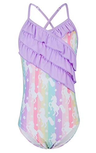 Funnycokid Bañador para niña de una pieza, traje de baño de verano para niños, con volantes, traje de baño hawaiano de 4 a 11 años Unicornio lila. 10-11 Años