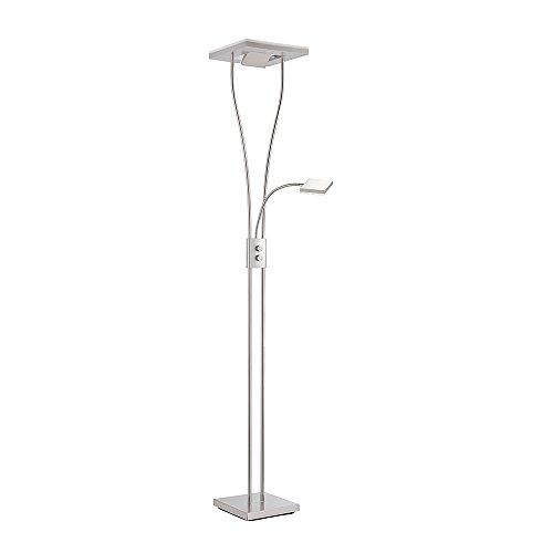 Kaemingk Modern Moderne quadratische Stehlampe Stahl/Silber / nickel matt mit Leselampe inkl. LED - Helia Dimmer/Dimmbar / Innenbeleuchtung/Wohnzimmer / Schlafzimmer/Küche / Deckenfluter Metal