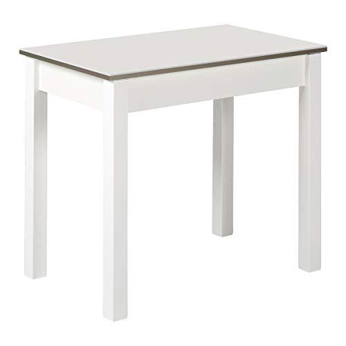 Mesa de Cocina Extensible Blanca RDEC, 80X50 cm. Extensible 110x50 cm Canto Efecto Cristal.