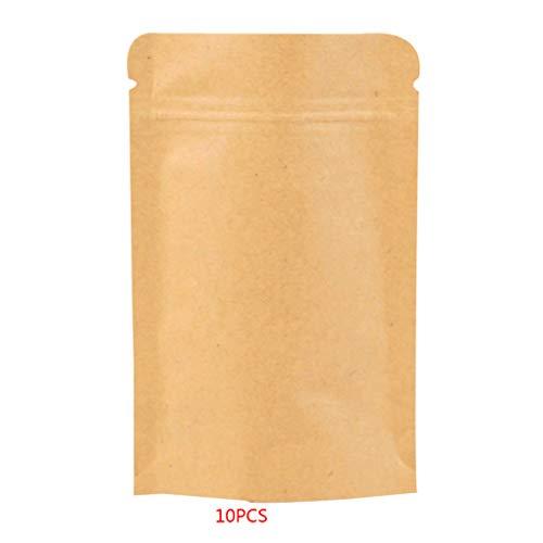10 stks hersluitbare Zip Lock Effen Kleur Kraftpapier Folie zakje, food Bag Stand Up Heat Seal Food Grade Pouch