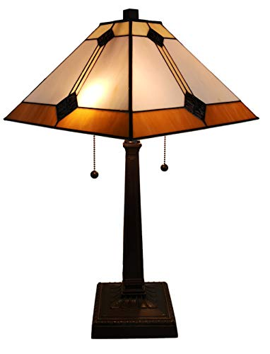 Amora Lighting Tiffany Style Table Lamp Banker Mission 23' Tall Stained Glass White Tan Brown Antique Vintage Light Decor Nightstand Bedside Living Room Bedroom Handmade Gift AM098TL13B, Multicolor