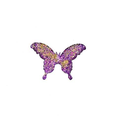 OMMO LEBEINDR Colgante de plástico Creativo Lindo de la Mariposa Pendiente Pendiente de Bricolaje decoración de la joyería de Accesorios 1PC (púrpura)