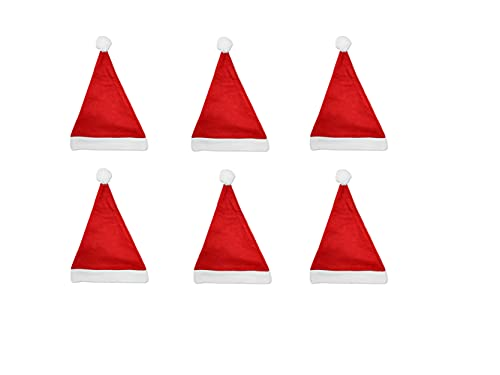 6Pcs Gorro de Papá Noel,Gorro de Navidad para Adultos,Gorro de Papá Noel Gorro de Papá Noel,Gorro Navideño para Niño,Gorro de Navidad,Unisex Sombreros Rojos de Navidad