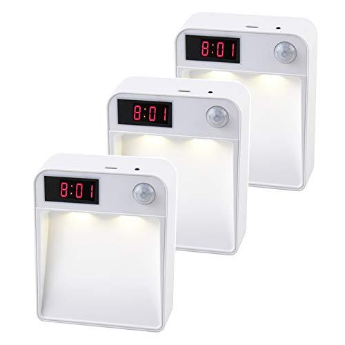 Sifree タイムディスプレイ付きLEDナイトライト、廊下、クローゼット、階段、キッチン、バスルーム用のワイヤレスPIRモーション自動センサーライト