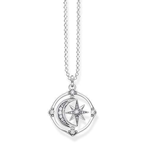 Thomas Sabo Women's Necklace with Star and Moon Pendant, Silver 70 cm