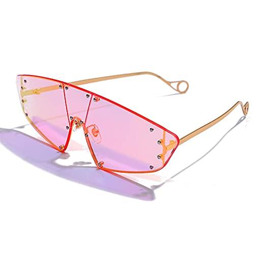 ShZyywrl Gafas De Sol De Moda Unisex Gafas De Sol De Ojo De Gato A La Moda para Mujer, Gafas con Remache De Lente De Espejo Irregular De Una Pieza, Gafas Vinta