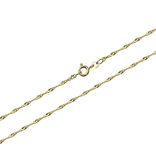 NKlaus 45cm Singapur 1,4mm Goldkette 333 Gelbgold 8 Karat Singapurkette Collier 1,55g 9398