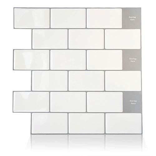 ENCOFT 6 Stück Fliesenaufkleber Weiß 12 Zoll 3D Selbstklebende Klebefolie Fliesen Klebefliesen Fliesendekor Fliesenfolie Küche Bad 100% Wasserdicht