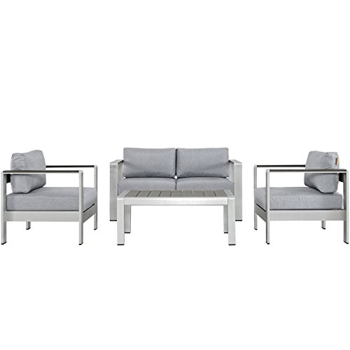 Modway Shore 4-Piece Aluminum Outdoor Patio Furniture Set in Silver Gray