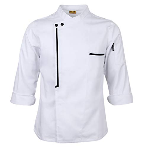 SM SunniMix Chaqueta de Chef para Hombre, Manga Larga, Bolsillo Vintage, Panadería, Catering, Abrigo, M-3XL - Blanco, XL