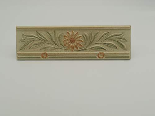 Greca Listello Con Decoro Floreale In Ceramica Art 31026 Cm 10 x 33 x Mm 8 Decorazione Rivestimento Bagno - N° 3 Pezzi
