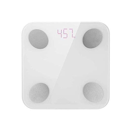 qwe XISABCS Báscula de baño Digital, Smart Wireless IMC Baño Báscula con el teléfono Inteligente de Aplicaciones for el Peso Corporal, Grasa, Agua, índice de Masa Corporal, Masa Muscular - Blanco