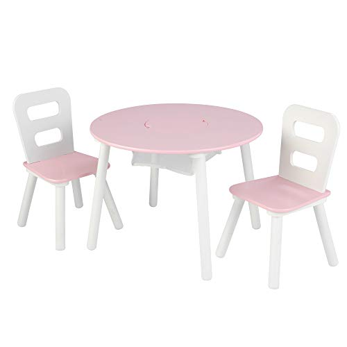 "KidKraft 26165 Wooden Round Table & 2 Chair Set with Center Mesh Storage - Pink & White, 26"" x 27"" x 3.5"""